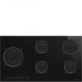 Smeg · PV695LCNXDE · Designlinie Dolce Stil Novo · Einbau-Gaskochmulde · 90 cm Glaskeramikmulde Schwarz mit Profilleisten in Edelstahl