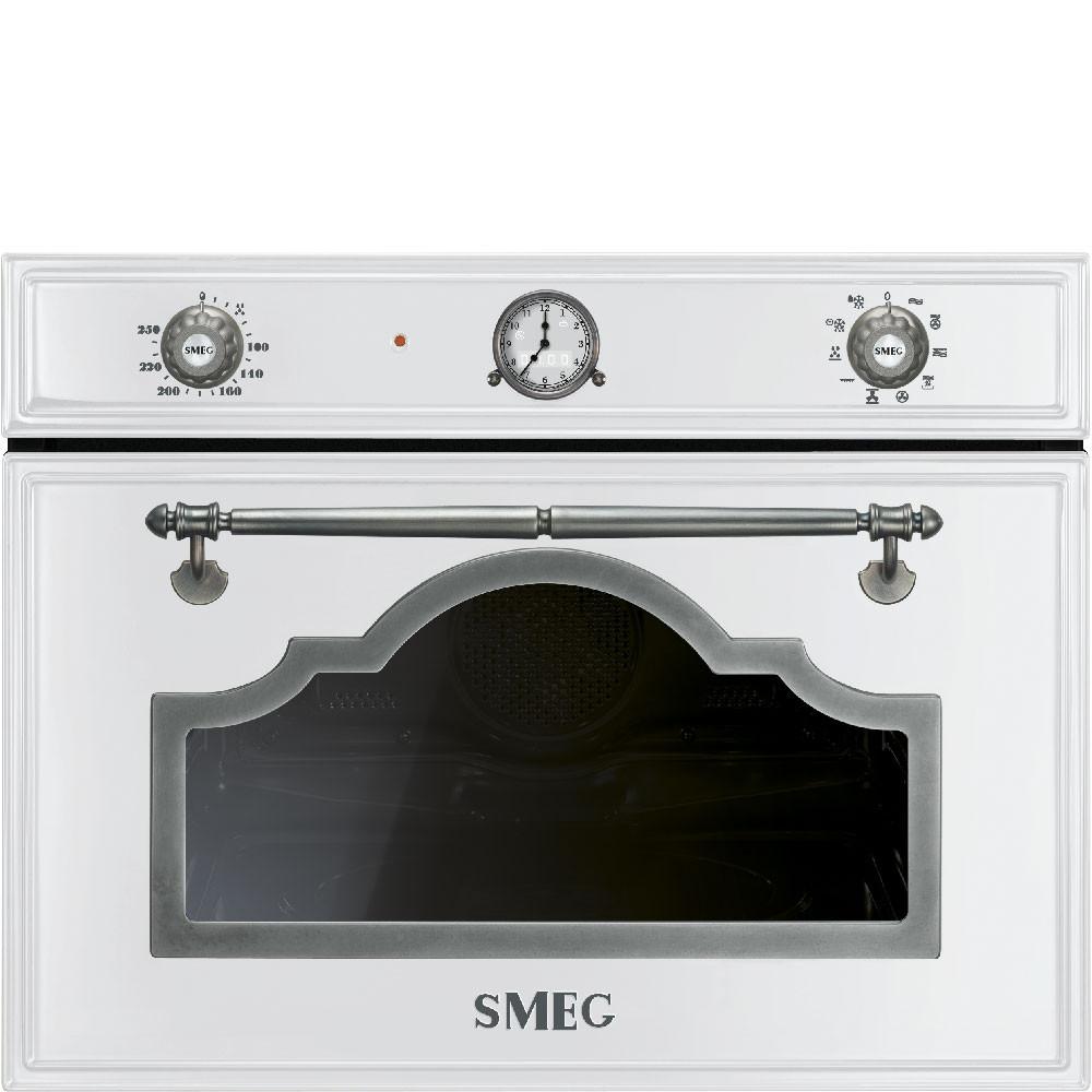 Smeg · SF4750MCBS · Einbau-Kompakt-Mikrowellenbackofen ·  45cm ·  Weiss-Silber Antik