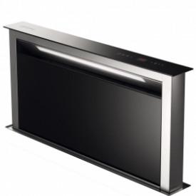 Smeg · KDD90VXE · Downdraft-Muldenlüfter 90cm · Schwarzglas-Verblendung · Edelstahlgehäuse