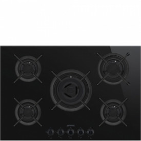 Smeg · PV675CNXDE · Designlinie Dolce Stil Novo · Einbau-Gaskochmulde · 75 cm Glaskeramikmulde Schwarz mit Profilleisten in Edelstahl