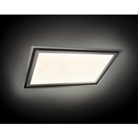 O+F A-Line SUN LAG 90SU60-850 Design Deckenhaube mit LED Panel dimmbar 90 x 60 cm  weiß-edelstahl