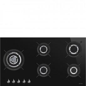Smeg · PV395LCNDE · Einbau-Gaskochmulde · Schwarze Glaskeramik · 90 cm