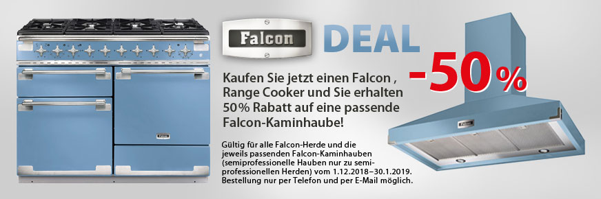 Falcon Deal: Beim Kauf eines Falcon Range Cookers erhalten Sie die Haube zum halben Preis