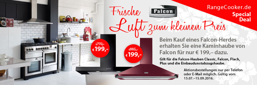 Jetzt einen Falcon Range Cooker bestellen und Haube für 199 Euro erhalten
