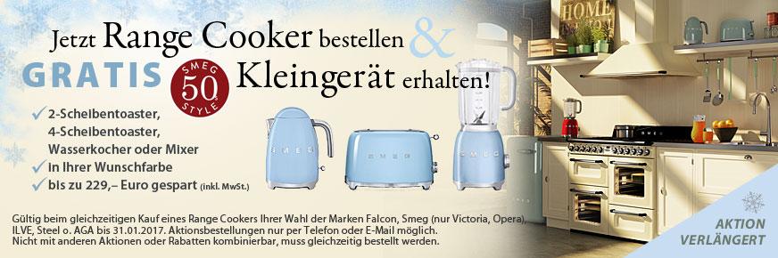 Jetzt einen Range Cooker bestellen und ein Smeg 50s Style Kleingerät gratis erhalten